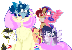 Size: 1024x714 | Tagged: safe, artist:vanillaswirl6, oc, oc only, oc:caring slash, oc:color guide, oc:may sweet song, oc:night light, oc:vanilla swirl, oc:winter winds, unnamed oc, bat pony, earth pony, pegasus, pony, unicorn, wolf pony, :>, annoyed, bipedal, bipedal leaning, biting, blushing, cheek fluff, chest fluff, clothes, colored wings, colored wingtips, colt, cute, ear fluff, eyes closed, female, filly, fluffy, frown, gift art, glare, gritted teeth, group, gums, holding a pony, hoof hold, leaning, leg fluff, looking down, looking up, male, mare, mouth hold, nom, nuzzling, one eye closed, open mouth, scared, sharp teeth, shoulder fluff, simple background, sitting, size difference, smiling, sock, spread wings, stockings, tail bite, teeth, thigh highs, transparent background, unamused, wings, wink