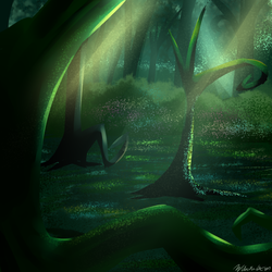 Size: 1024x1024 | Tagged: artist:wubcakeva, crepuscular rays, everfree forest, forest, no pony, roots, safe, scenery, tree