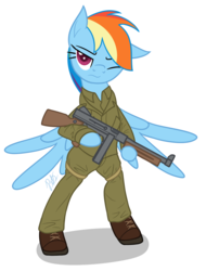 Size: 1456x1920 | Tagged: safe, artist:camo-pony, rainbow dash, pegasus, pony, bipedal, boots, clothes, female, gun, mare, military, military uniform, shoes, simple background, spread wings, submachinegun, tommy gun, weapon, white background, wings, world war ii