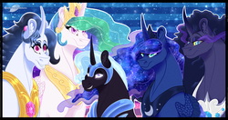 Size: 1400x740 | Tagged: artist:bijutsuyoukai, curved horn, female, magical lesbian spawn, male, mare, oc, oc:black lotus, oc:morning glory, oc:void star, offspring, parent:king sombra, parent:nightmare moon, parent:princess celestia, parent:princess luna, parent:rarity, parents:celestibra, parents:lumbra, parents:nightrarity, pony, princess celestia, princess luna, safe, stallion