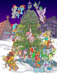 Size: 1600x2058 | Tagged: alicorn, apple bloom, applejack, artist:touki-san, big macintosh, christmas, christmas tree, clothes, cupcake, cutie mark crusaders, derpy hooves, discord, dragon, female, fluttershy, food, holiday, male, pinkie pie, pony, present, rainbow dash, rarity, safe, scarf, scootaloo, shipping, sled, snow, snowball fight, spike, starlight glimmer, straight, sugar belle, sugarmac, sweetie belle, toe-tapper, torch song, traditional art, tree, trenderhoof, trixie, twilight sparkle, twilight sparkle (alicorn), wall of tags