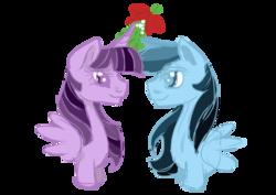 Size: 1024x724   Tagged: safe, artist:aurasinchaser, rainbow dash, twilight sparkle, alicorn, christmas, female, holiday, lesbian, mistletoe, shipping, twidash, twilight sparkle (alicorn)