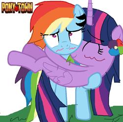 Size: 868x864   Tagged: safe, artist:rainbowdeshgwg, rainbow dash, twilight sparkle, alicorn, pony, pony town, base used, blushing, female, lesbian, shipping, twidash, twilight sparkle (alicorn)