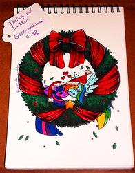 Size: 939x1200   Tagged: safe, artist:shikimaakemi, rainbow dash, twilight sparkle, alicorn, christmas, female, hat, holiday, lesbian, my little squishy, santa hat, shipping, traditional art, twidash, twilight sparkle (alicorn), wreath