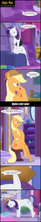 Size: 1024x5405 | Tagged: anatomically incorrect, applejack, artist:toxic-mario, carousel boutique, closet, clothes, coat rack, comic, cutie mark, dress, earth pony, female, gown, hat, incorrect leg anatomy, mare, mirror, pony, rarity, rug, safe, signature, sitting, speech bubble, unicorn
