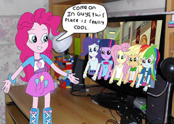 Size: 1228x873 | Tagged: applejack, artist:equestriaguy637, artist:favoriteartman, bracelet, clothes, computer, cowboy hat, cutie mark on clothes, desk, desk lamp, dialogue, equestria girls, equestria girls in real life, fluttershy, fourth wall, freckles, frown, grin, hat, humane five, humane six, irl, jewelry, mane six, microphone, monitor, photo, pinkie pie, rainbow dash, rarity, safe, skirt, smiling, speakers, speech bubble, stetson, twilight sparkle, webcam, wide eyes, wristband