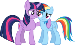 Size: 8000x4880 | Tagged: safe, artist:xpesifeindx, rainbow dash, twilight sparkle, alicorn, pony, rainbow falls, .svg available, absurd resolution, duo, female, mare, side hug, simple background, transparent background, twilight sparkle (alicorn), vector
