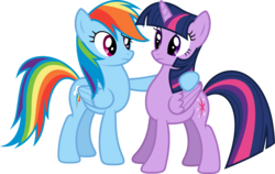 Size: 7999x5049 | Tagged: safe, artist:xpesifeindx, rainbow dash, twilight sparkle, alicorn, pony, daring don't, .svg available, absurd resolution, duo, female, mare, side hug, simple background, transparent background, twilight sparkle (alicorn), vector
