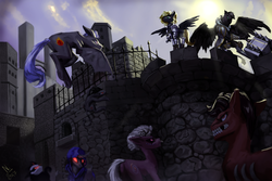 Size: 3000x2000 | Tagged: safe, artist:nsilverdraws, oc, oc only, oc:forge, oc:veen sundown, demon, demon pony, earth pony, griffon, horse, pegasus, pony, unicorn, angry, armor, blonde, bone, castle, climbing, cloud, cloudy, demon hunter, detailed, female, fence, flying, glowing eyes, hammer, hood, horns, majestic, male, mare, piercing, ponytail, scabbard, standing, sun, sundown clan, sword, weapon, window