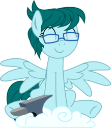Size: 1200x1373 | Tagged: 2018 community collab, anvil, artist:yoshimon1, cloud, cloud storage, cute, derpibooru community collaboration, derpibooru exclusive, eyes closed, female, glasses, mare, oc, oc:cloudy bits, oc only, pegasus, pony, safe, simple background, sitting, solo, spread wings, transparent background, wings