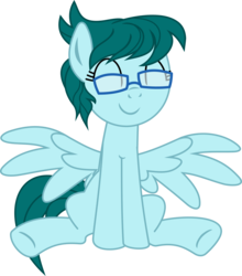 Size: 1200x1366 | Tagged: alternate version, artist:yoshimon1, derpibooru exclusive, eyes closed, female, glasses, mare, oc, oc:cloudy bits, oc only, pegasus, pony, safe, simple background, sitting, solo, spread wings, transparent background, wings