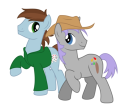 Size: 1250x1100 | Tagged: safe, artist:avastindy, derpibooru exclusive, oc, oc only, oc:coolj, oc:spark brush, earth pony, pony, unicorn, 2018 community collab, derpibooru community collaboration, cowboy hat, hat, male, simple background, stallion, transparent background