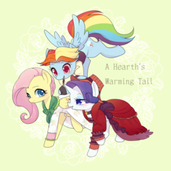 Size: 1200x1200 | Tagged: safe, artist:kkmrarar, flutterholly, fluttershy, merry, rainbow dash, rarity, snowdash, pegasus, pony, unicorn, a hearth's warming tail, clothes, colored pupils, dress, female, flying, hat, lidded eyes, mare, open mouth, raised hoof, title, trio, walking