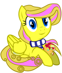 Size: 1024x1200 | Tagged: safe, artist:thunderdasher07, derpibooru exclusive, sunset shimmer, oc, oc only, oc:mist dasher, pegasus, pony, 2018 community collab, derpibooru community collaboration, .svg available, clothes, female, plushie, scarf, simple background, sitting, solo, svg, transparent background, vector