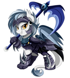 Size: 2550x2850 | Tagged: safe, artist:pridark, oc, oc only, oc:cobalt comet, bat pony, hippogriff, 2018 community collab, derpibooru community collaboration, armor, bat pony oc, clothes, commission, female, helmet, looking at you, mare, night guard, simple background, smiling, solo, transparent background, weapon