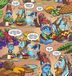 Size: 1003x1050   Tagged: safe, artist:tonyfleecs, meadowbrook, rockhoof, stygian, earth pony, pony, unicorn, idw, legends of magic, spoiler:comic, spoiler:comiclom9, apple, book, bowl, bread, butter, cheese, comic, corn, eating, eyes closed, female, food, grapes, heart eyes, herbivore, lemon, levitation, lidded eyes, looking at each other, magic, male, mare, muffin, napkin, pie, rockbrook, shipping fuel, smiling, stallion, telekinesis, wingding eyes
