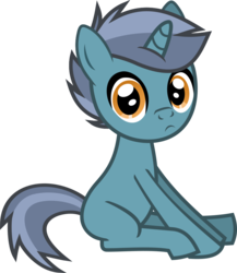 Size: 626x721 | Tagged: safe, artist:lightningbolt, derpibooru exclusive, oc, oc only, oc:timhortons, pony, unicorn, 2018 community collab, derpibooru community collaboration, .svg available, :c, blank flank, colt, frown, looking at you, male, simple background, sitting, solo, svg, teenager, transparent background, vector