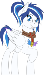 Size: 1701x2879 | Tagged: safe, artist:wcnimbus, oc, oc only, oc:lumi, pegasus, pony, 2018 community collab, derpibooru community collaboration, charm, clothes, colored pupils, colored wings, colored wingtips, ear fluff, female, mare, raised hoof, scarf, simple background, smiling, standing, transparent background