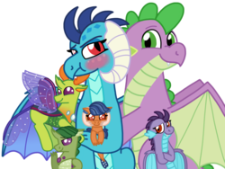 Size: 4096x3072 | Tagged: safe, artist:kindheart525, princess ember, spike, thorax, oc, oc:burgeon flare, oc:emerald beetle, oc:pupa phosphorus, changedling, changeling, dragon, kindverse, molt down, spoiler:s08, bisexual, dragonling, emberspike, embrax, female, gay, interspecies, interspecies offspring, king thorax, magical gay spawn, male, offspring, older, older spike, ot3, parent:princess ember, parent:spike, parent:thorax, parents:emberspike, parents:embrax, parents:thoraxspike, polyamory, shipping, spembrax, straight, thoraxspike, tsundember, tsundere, winged spike