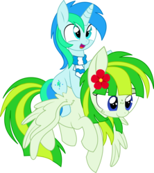 Size: 6021x6782 | Tagged: safe, artist:aureai, artist:cyanlightning, oc, oc only, oc:cyan lightning, oc:green lightning, pegasus, pony, unicorn, 2018 community collab, derpibooru community collaboration, .svg available, absurd resolution, clothes, colt, cute, cyan lightning riding green lightning, duo, female, flower, flower in hair, flying, lidded eyes, male, mare, mother and son, ocbetes, open mouth, ponies riding ponies, riding, scarf, simple background, smiling, spread wings, transparent background, vector, wings