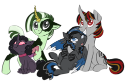 Size: 1800x1200 | Tagged: safe, artist:veesocks, derpibooru exclusive, oc, oc only, oc:dabbledo, oc:dazzling flash, oc:spider solitare, oc:zipperfloat, changeling, hybrid, pegasus, pony, spider, unicorn, zebra, zebrasus, 2018 community collab, derpibooru community collaboration, changeling oc, collar, curved horn, cute, cutie mark, fake horn, lifted leg, looking at camera, purple changeling, simple background, smiling, sparkles, tongue out, transparent background, wings, zebra oc