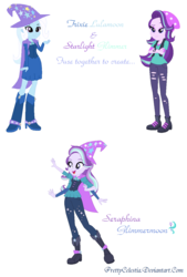 Size: 848x1258 | Tagged: safe, artist:prettycelestia, starlight glimmer, trixie, equestria girls, beanie, four arms, fusion, gem fusion, hat, multiple arms, steven universe