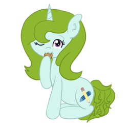 Size: 1500x1500 | Tagged: 2018 community collab, artist:sketchydesign78, cookie, derpibooru community collaboration, food, nom, oc, oc only, oc:sketchy design, safe, simple background, solo, transparent background, unicorn