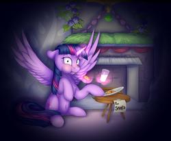 Size: 3400x2800 | Tagged: alicorn, artist:klarapl, belly button, caught, chimney, cookie, everything is ruined, fireplace, food, glowing horn, light, magic, milk, night, note, plate, safe, santa claus, sitting, table, telekinesis, twilight sparkle, twilight sparkle (alicorn)
