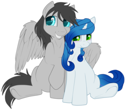 Size: 2036x1772 | Tagged: 2018 community collab, artist:gleamydreams, blushing, couple, derpibooru community collaboration, derpibooru exclusive, gleamicity, looking at you, oc, oc:gleamy, oc:helicity, oc only, pegasus, pony, safe, simple background, sitting, spread wings, transparent background, unicorn, wings