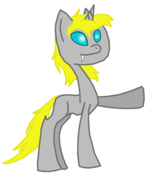 Size: 2284x2500 | Tagged: 2018 community collab, changeling, changeling oc, derpibooru community collaboration, fangs, oc, oc:nickedbrass, oc only, raised hoof, safe, simple background, solo, transparent background, unicorn, white changeling