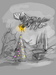 Size: 1234x1645 | Tagged: safe, artist:blindcoyote, oc, oc only, oc:der, griffon, christmas, christmas lights, christmas tree, holiday, male, monochrome, sketch, solo, tree
