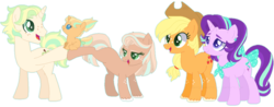 Size: 1024x401 | Tagged: applejack, artist:s1nb0y, baby, baby pony, base used, female, filly, glimmerjack, lesbian, magical lesbian spawn, male, mare, oc, oc:daniela sunlight, oc:jhonny cherimoya, oc:tamara, offspring, parent:applejack, parents:glimmerjack, parent:starlight glimmer, pony, safe, shipping, simple background, stallion, starlight glimmer, transparent background, unicorn