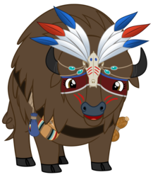 Size: 2600x3000 | Tagged: 2018 community collab, artist:cheezedoodle96, beads, belt, buffalo, buffalo oc, derpibooru community collaboration, face paint, feather, female, gourd, headdress, looking at you, non-pony oc, oc, oc:laughing water, oc only, pouch, safe, shaman, simple background, smiling, solo, svg, .svg available, transparent background, vector, war paint