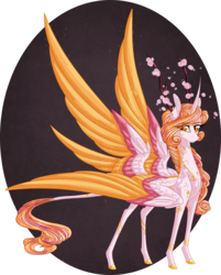Size: 1934x2400 | Tagged: alicorn, alternate universe, antlers, artist:australian-senior, coat markings, colored hooves, flower, four wings, hybrid, kirindos, leonine tail, multiple wings, oc, oc:eleanor aetherius, oc only, pony, safe, seraph, seraphicorn, simple background, solo, swirly markings