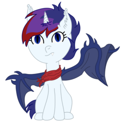 Size: 1100x1100 | Tagged: 2018 community collab, alicorn, alicorn oc, artist:marcus todjel, artist:minus, bat pony, bat wings, clothes, colored lineart, derpibooru community collaboration, derpibooru exclusive, female, horn, oc, oc:diana deschain, oc only, pony, safe, scarf, simple background, solo, transparent background