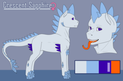 Size: 5000x3271 | Tagged: safe, artist:imreer, oc, oc only, oc:crescent sapphire, dracony, hybrid, female, long tongue, reference sheet, solo, tongue out