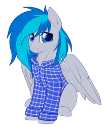 Size: 1391x1697 | Tagged: 2018 community collab, artist:gleamydreams, clothes, derpibooru community collaboration, derpibooru exclusive, gift art, looking at you, oc, oc:moontune, oc only, pegasus, pony, request, safe, shirt, simple background, sitting, spread wings, transparent background, wings