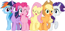 Size: 7200x3420 | Tagged: alicorn, applejack, artist:tomfraggle, cowboy hat, earth pony, fame and misfortune, flawless, fluttershy, hat, mane six, open mouth, pegasus, pinkie pie, rainbow dash, raised hoof, rarity, safe, simple background, singing, spoiler:s07e14, stetson, transparent background, twilight sparkle, twilight sparkle (alicorn), unicorn, vector