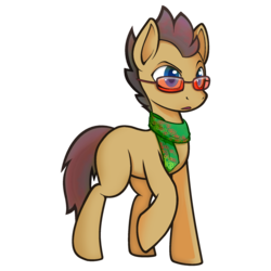 Size: 2000x2000 | Tagged: safe, artist:darkdoomer, derpibooru exclusive, oc, oc only, oc:darthsonic, earth pony, pony, 2018 community collab, derpibooru community collaboration, clothes, community related, glasses, male, raised hoof, scarf, simple background, solo, stallion, transparent background