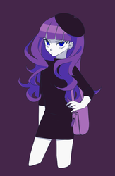 Size: 1200x1846 | Tagged: artist:kkmrarar, beatnik rarity, beret, clothes, equestria girls, hat, rarity, safe, solo, sweater