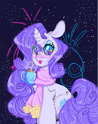 Size: 5080x6392 | Tagged: absurd res, artist:bunxl, blushing, chocolate, clothes, food, hot chocolate, lipstick, pony, rarity, safe, scarf, solo, unicorn