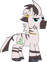 Size: 1478x1925 | Tagged: 2018 community collab, artist:feralroku, derpibooru community collaboration, derpibooru exclusive, ear piercing, earring, jewelry, male, oc, oc only, oc:trisk, piercing, safe, simple background, solo, stallion, transparent background, zebra, zebra oc