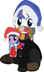 Size: 992x1600 | Tagged: safe, artist:eagle1division, twilight sparkle, oc, oc:star scraper, pony, unicorn, 2018 community collab, derpibooru community collaboration, blanket, christmas, clothes, coat, hat, holiday, jacket, looking at you, male, nightcap, pants, peacoat, plushie, safety pin, santa hat, scarf, shoes, simple background, sitting, solo, stallion, transparent background, vector