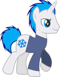 Size: 1104x1418 | Tagged: 2018 community collab, artist:alphatea, clothed ponies, clothes, derpibooru community collaboration, male, oc, oc only, original character do not steal, pony, raised hoof, safe, simple background, smiling, snow, snowflake, solo, stallion, transparent background, unicorn