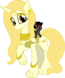 Size: 1184x1400 | Tagged: 2018 community collab, alicorn, alicorn oc, artist:eagle1division, claws, clothes, derpibooru community collaboration, female, gold, hybrid, jewelry, looking at you, mare, oc, oc only, oc:sunny's heart, oc:swift bolt, original species, plushie, safe, sash, simple background, solo, toga, transparent background, vector