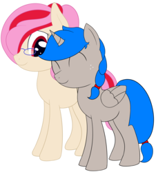 Size: 1853x2052 | Tagged: 2018 community collab, alicorn, alicorn oc, artist:nitei, cute, derpibooru community collaboration, female, lesbian, nuzzling, oc, oc only, oc:sprite, oc:understudy, safe, shipping, simple background, transparent background