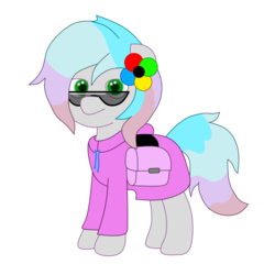 Size: 2000x2000 | Tagged: 2018 community collab, artist:exhumed legume, clothes, derpibooru community collaboration, derpibooru exclusive, earth pony, hoodie, looking at you, oc, oc only, oc:spectra, pony, saddle bag, safe, simple background, solo, sunglasses, transparent background