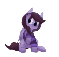 Size: 4770x4670 | Tagged: safe, artist:lux, oc, oc only, oc:pillow case, pegasus, pony, 2018 community collab, derpibooru community collaboration, absurd resolution, c:, clothes, cute, female, hoodie, looking at you, mare, raised hoof, simple background, sitting, smiling, solo, transparent background