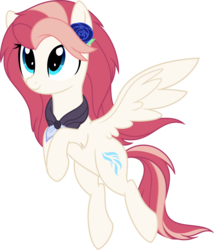 Size: 6000x7011 | Tagged: safe, artist:aureai, oc, oc only, oc:aureai, pegasus, pony, 2018 community collab, derpibooru community collaboration, .svg available, absurd resolution, clothes, female, floating, flower, flower in hair, flying, hair over one eye, happy, looking up, mare, rose, scarf, simple background, smiling, solo, spread wings, transparent background, vector, windswept mane, wings