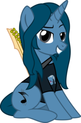 Size: 2600x3938 | Tagged: safe, artist:metalhead97, trixie, oc, oc:metalhead, pony, 2018 community collab, derpibooru community collaboration, clothes, guitar, long hair, looking at you, music notes, musician, semiquaver, shirt, simple background, sitting, solo, transparent background
